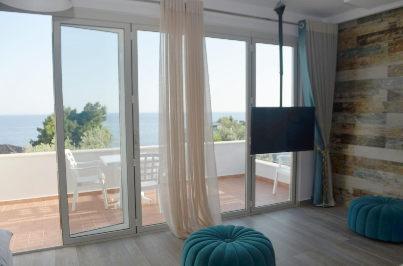 modern apartment in dhermi for sale  two bedrooms and with sea view fully furnished apartment