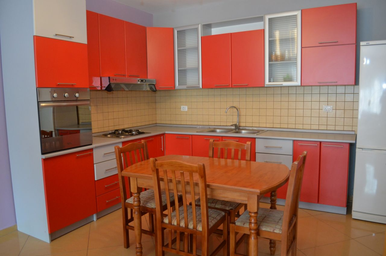 Apartment for rent with two bedrooms in Tirana, the capital of Albania, located in the Bllok Area.