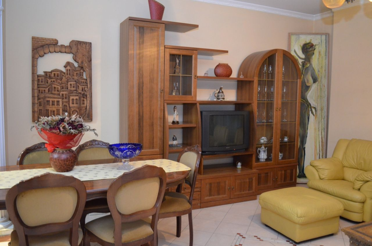 Apartment for rent in a central area in Tirana, Albania. The apartment has two bedrooms and is nicely furnished.