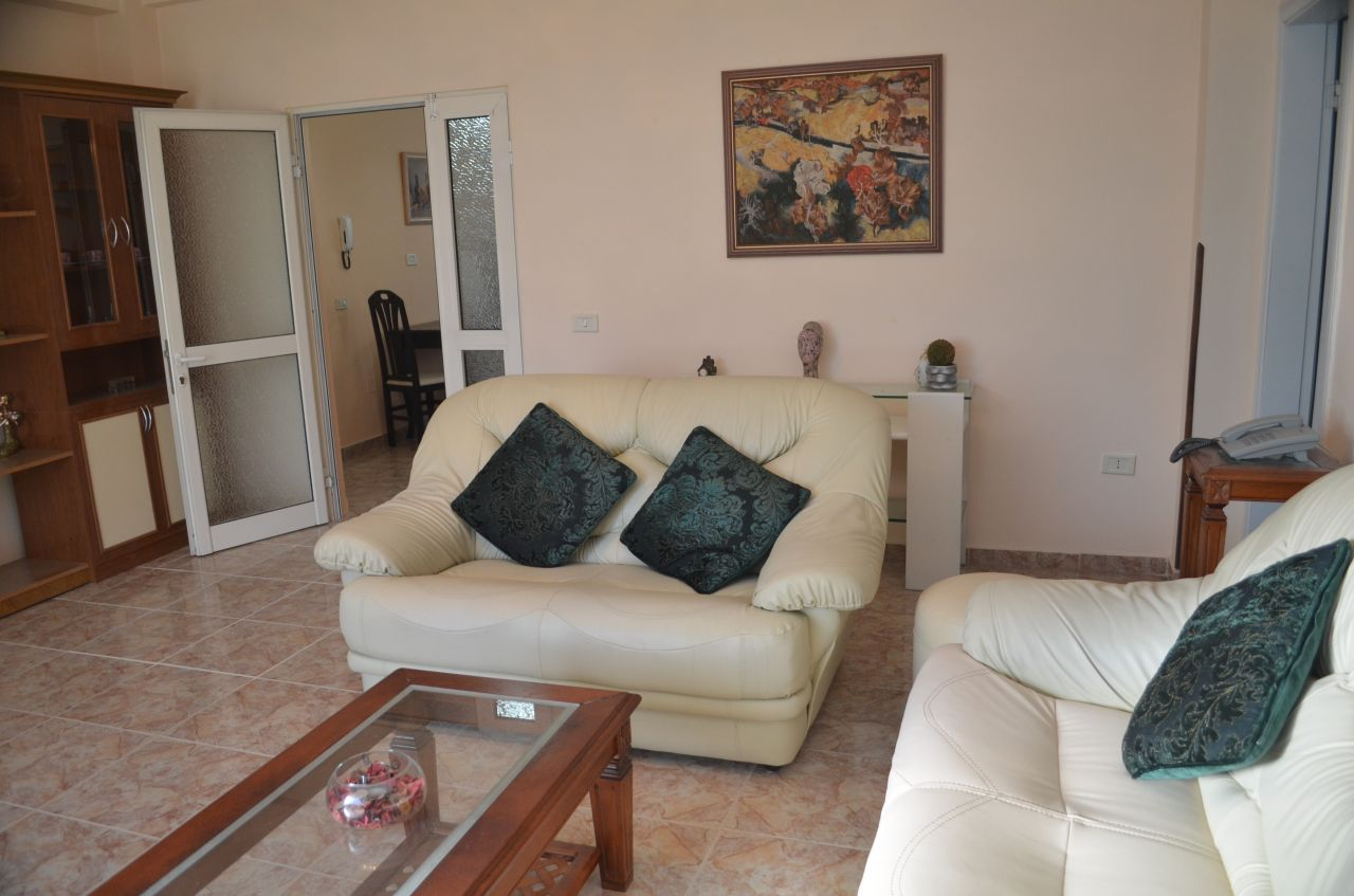 Nice furnished apartment with two bedrooms for rent in Ismail Qemali street in Tirana, Albania.