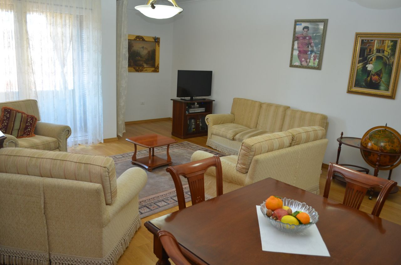 Apartment for Rent in Tirana with two bedrooms in good conditions and fully furnished. It is in a top quality construction