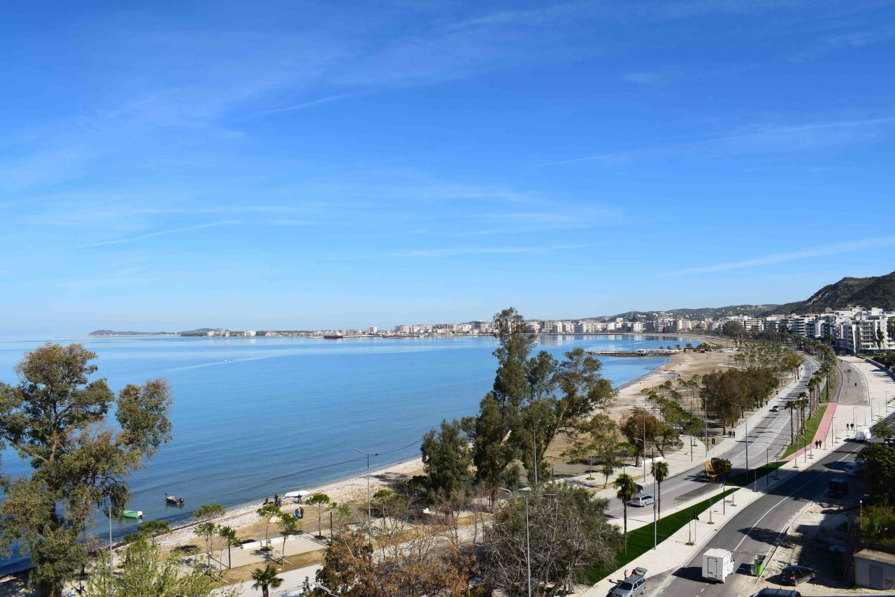 Full Sea View Two Bedroom Apartment for Rent with Two Bathrooms in Vlora